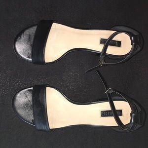 'Black leather block heel'